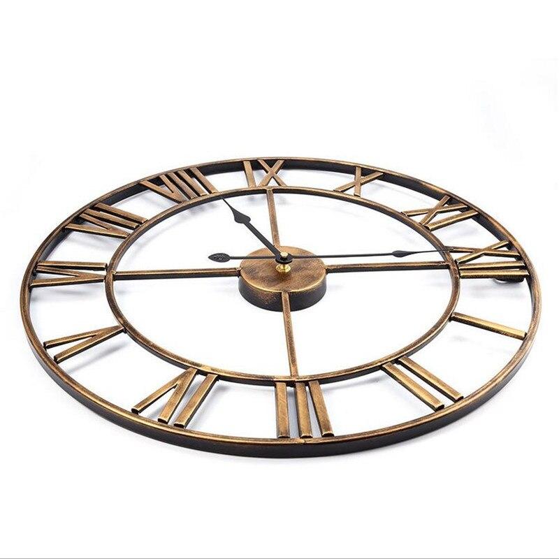 Nouveau 3D circulaire rétro romain 47cm forgé creux fer Vintage grand muet décoratif horloge murale sur la décoration murale pour la maison - 4