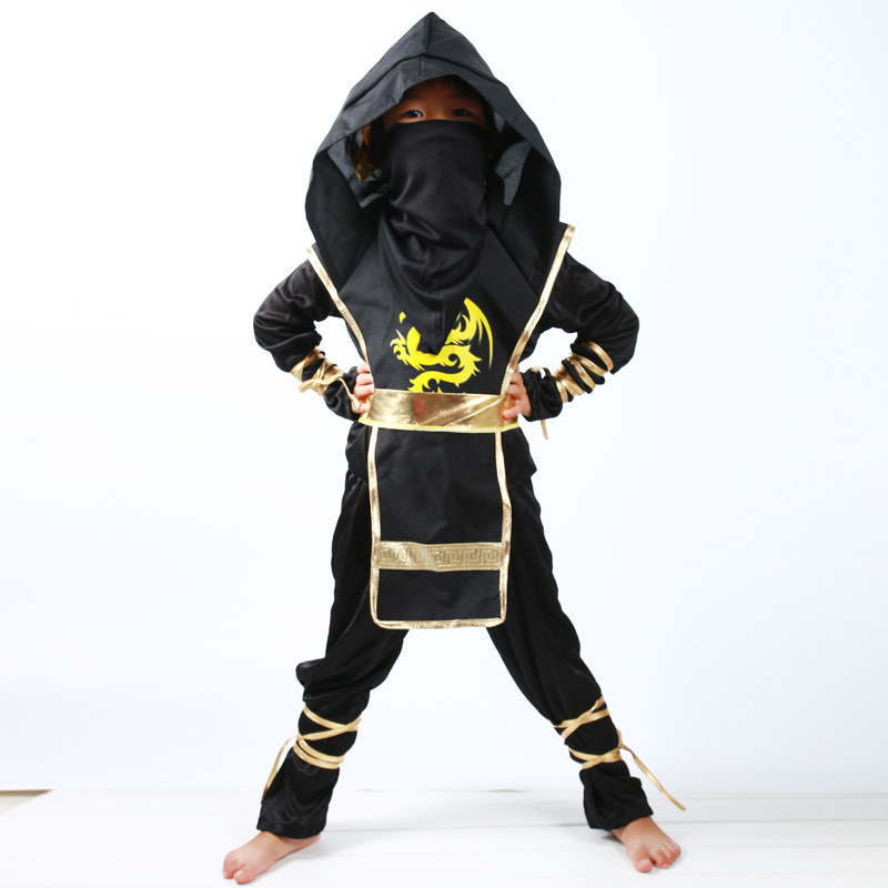 Negro Ninjago Cosplay disfraz niños ropa conjuntos niños ropa Halloween Navidad Fiesta Elegante ropa Ninja Streetwear trajes