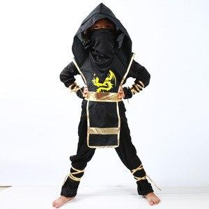 Image 1 - 검은 소년 Ninjago 제복 아이 옷 세트 아이들을위한 할로윈 의상 크리스마스 멋진 파티 드레스 닌자 의상 정장