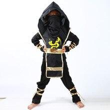 Ragazzo nero Ninjago Costume Bambini Insiemi Dei Vestiti Dei Bambini Costume di Halloween per I Bambini Di Natale Del Partito Del Vestito Operato Ninja Costumi Abiti