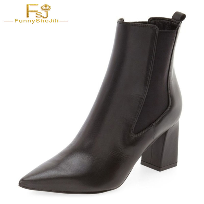 Women 2018 Black Leather Elastic Band Cool Pointed Toe High Square Heels Winter Causal Ankle Boots Ladies Shoes Woman 4-16 FSJ women boots sexy high heels shoes woman genuine leather ladies party pumps elegant elastic band rivets ankle boots pointed toe