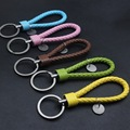 Car Simple Leather Braided Rope Keychain Car Key Ring Car Styling Car Hand Pendant Decoration 10 Color