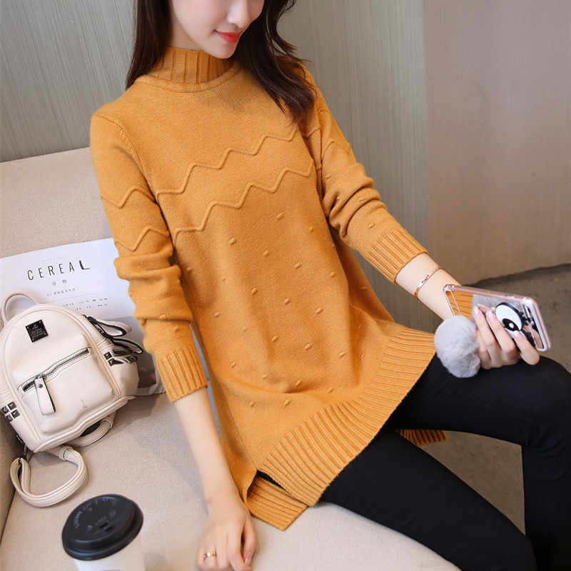 Plus size autumn winter women's sweater 2019 long-sleeved warm casual sweater half-high collar loose Elasticity sweater OKXGNZ