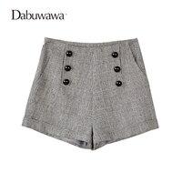 Dabuwawa Grey Korte Vrouwen Plaid Vintage Wol Shorts Voor Winter Dames Plaid Shorts Met Knoppen Feminino