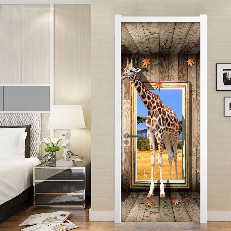 Door Stickers 3D Giraffe Animal Poster Living Room Bedroom