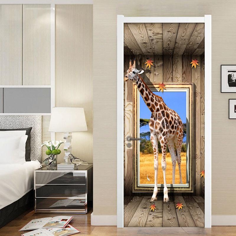 Door Stickers 3D Giraffe Animal Poster Living Room Bedroom Door Sticker Waterproof Art Wall Decals Wall Sticker Mural Wallpaper