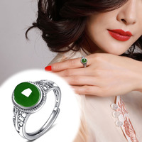 2020 New Limited Women Anillos Anel Masculino Anel Hetian Ring 925 Silver inlaid Spinach Greenstone Female Retro Palace Style