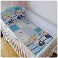 ¡ Promoción! 5 unids malla cuna bedding set de ropa de cama cuna bebé de malla transpirable de dibujos animados, incluyen (4 bumpers + hoja)