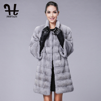 Furtalk Winter Women Real Mink Fur Coats Outerwear Whole Set Mink Fur Coat Silk Lining For