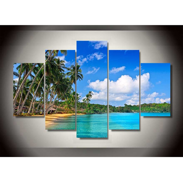 5 Piece Canvas Art Sea Blue Sky Beach Style Painting On Giclee Print Set Decoration For Home Living Room C 849 In Calligraphy From