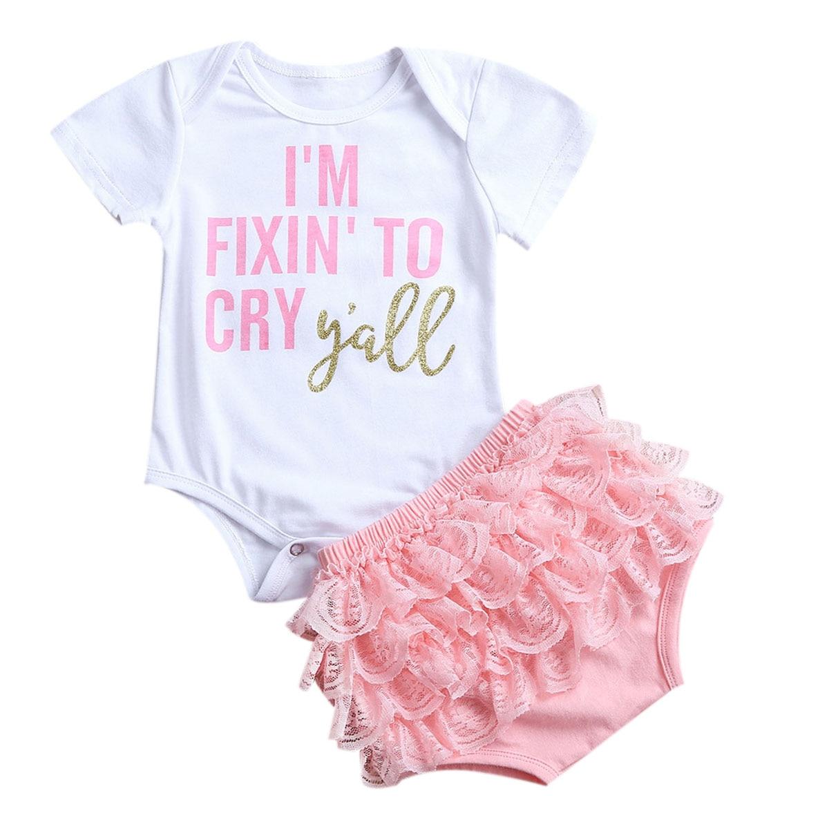 2Pcs Newborn Infant Baby Girls Outfits Romper Jumpsuit Bodysuit Lace Tutu font b Dress b font