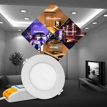 2,4G RGB+ CCT светодиодный светильник 6 W 12 W Milight AC 110 V 220 V светодиодный круглая Светодиодная панель затемнения reccessed свет использования с пульта дистанционного управления
