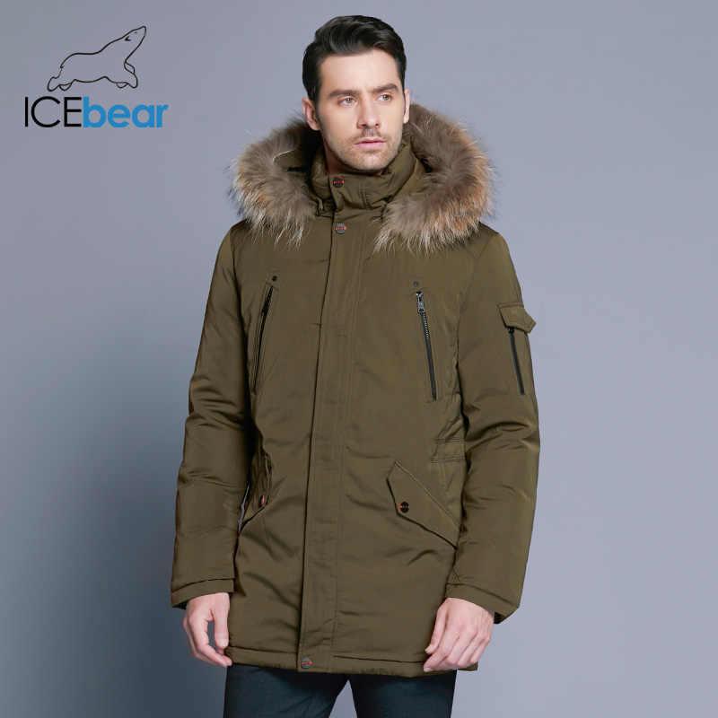 ICEbear 2018 человек Теплая зимняя кофта роскошный Съемный меховой воротник высокий воротник ветрозащитный в сдержанном стиле удобные манжеты 17MD903D