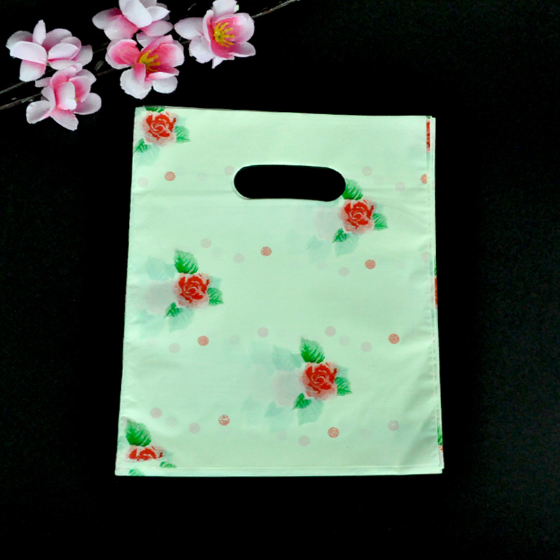 20x25cm Red Rose Design Beige Plastic Bag 100pcs/lot Boutique Jewelry Packaging Gift Bag Plastic Shopping Bags With Handle
