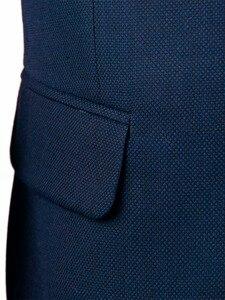 Image 4 - Marineblauw Nailhead Zakelijke Mannen Pakken Custom Made Slim Fit Wol Blend Vogel eye Wedding Suits Voor Mannen, tailor Made Bruidegom Pak