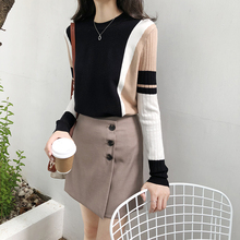 Hot selling Autumn Winter Sweater Women Contrast Color Pullover Jumper Long Sleeve O-Neck Knitted Tops Outwear Pull Femme D301 contrast ruffle neck and bell cuff jumper