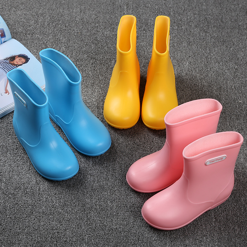 New Arrival Baby Girls Boys Waterproof Rain Boots Non-slip Rain Shoes PVC Rubber Lovely Boots For Kids Pink Yellow Blue Fashon