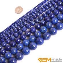 Круглые бусины из голубого лазурита, натуральный Лазурит, сделай сам, свободные бусины для изготовления ювелирных изделий, прядь, 15 дюймов