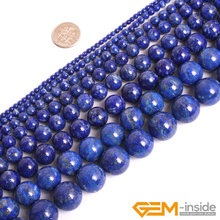 Round Blue Lapis Lazuli Beads Natural Lapis Lazuli Stone Beads DIY Loose Beads For Jewelry Making Strand 15 Inches Wholesale ! wholesale 12 18 mm stick shape lapis lazuli blue stone beads for jewelry making diy necklace bracelet material strand 15