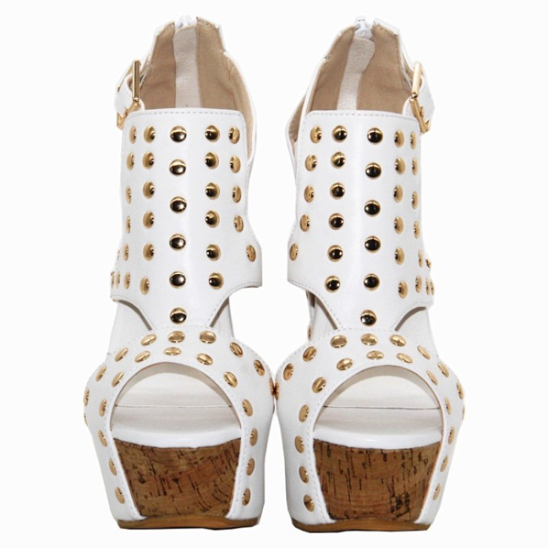 Tela De Decoración Cuña Blanco Remaches Zapatos 5 Sandalias Cm 34 Cuero Mujer 45 Tamaño Correo Moda Shofoo Gratuito Elegante 14 wgxxAtYRq