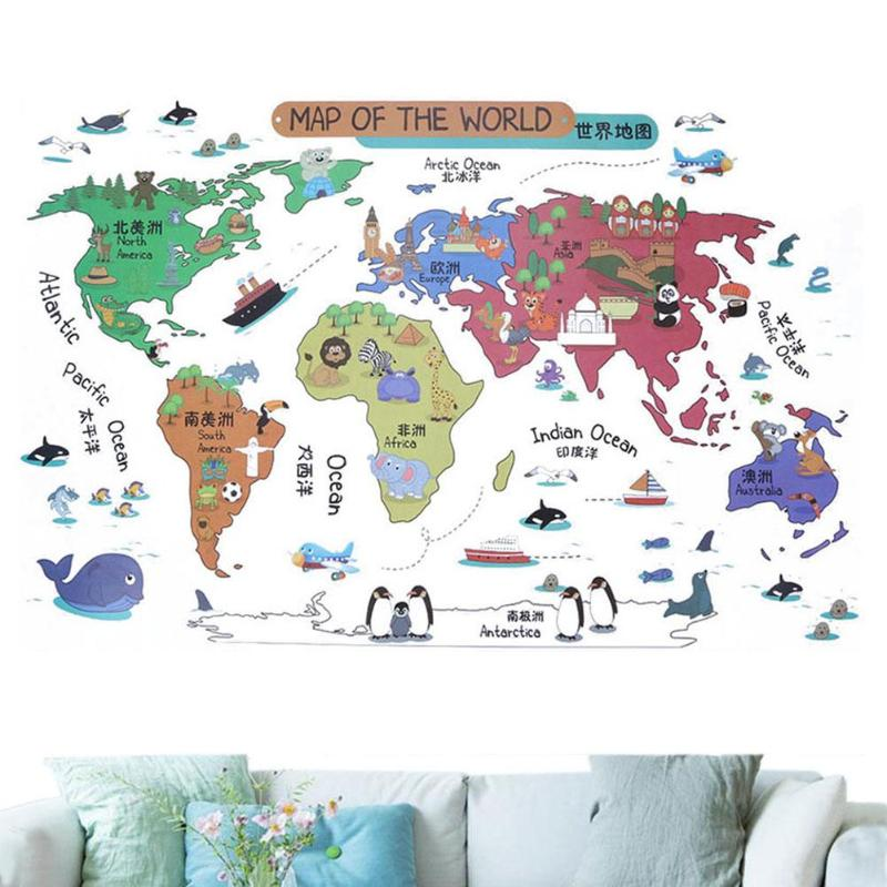 Hot Sale 60 90cm Cartoon World Map Animals Pvc Wall Map Stickers