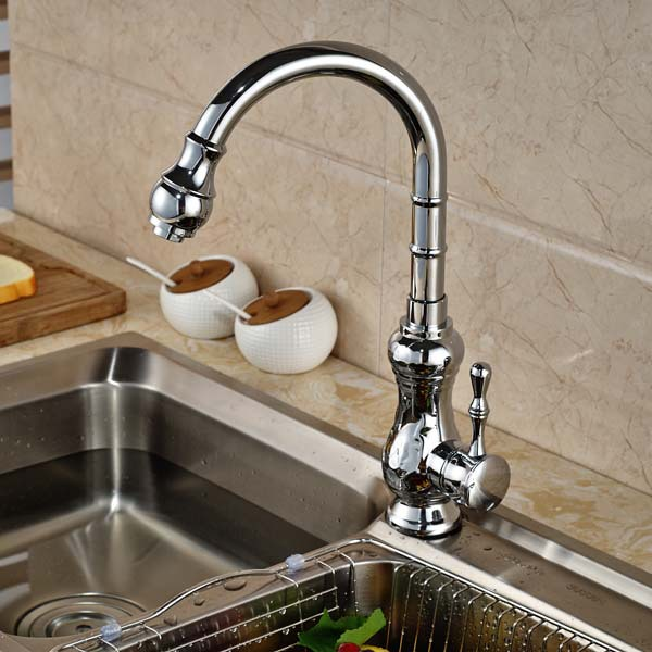 Contemporary Chrome Brass Kitchen Faucet Vessel Sink Mixer Tap Deck Mounted Hot and Cold Water