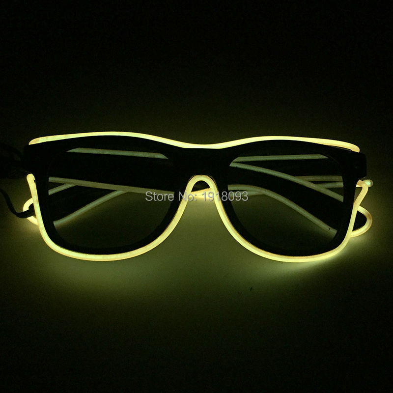 Bright Yellow EL Wire Flashing Sunglasses With Dark Lens Novelty Lighting Neon Glow Light For Festival Party Supplies With DC-3V