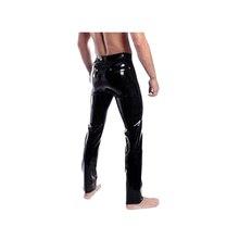 Латексные мужские штаны с молнией спереди плотно подгоняемые 0,4 мм резиновые брюки размер XXS-XXL