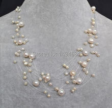 Wholesale Pearl Jewelry – White Color Multistrand Illusion Genuine Freshwater Pearl Necklace – Wedding Birthday Gift