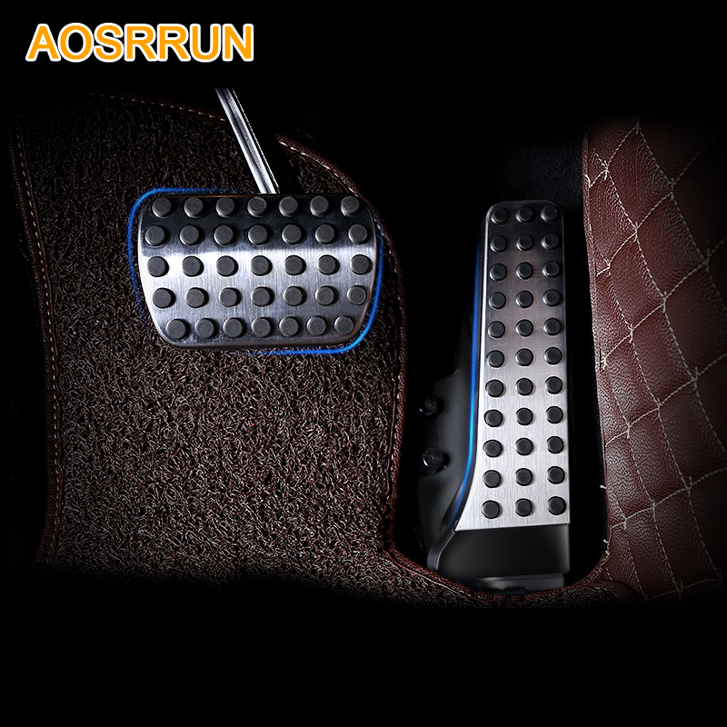 AOSRRUN Stainless steel Accelerator pedal brake pedal Car Accessories For <font><b>Mercedes</b></font> Benz C-Class C200 C180 <font><b>C300</b></font> W205 2015 <font><b>2016</b></font> image
