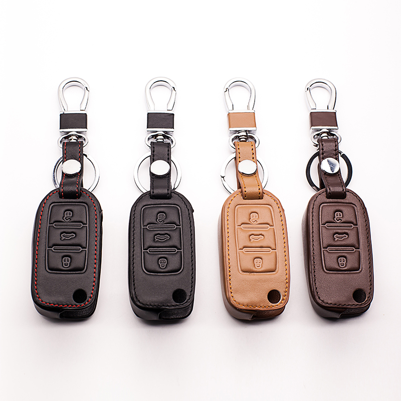 The latest design 100% leather key cover for VW polo passat b5 golf 4 5 6 jetta mk6 tigu ...
