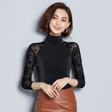 2018 Women Blouse Shirt Gold Wire Mesh Sexy Long Casual Sleeve Lace Turtleneck Tops For Woman Plus Size