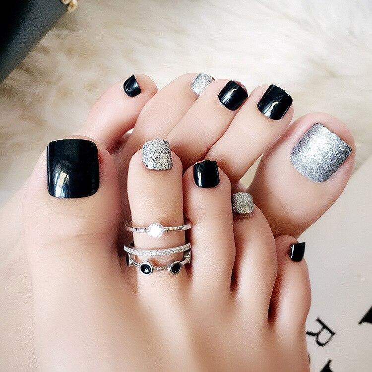 24 Pcs/set Powder Decoration Summer Toe Fake Nails Black Sliver ...