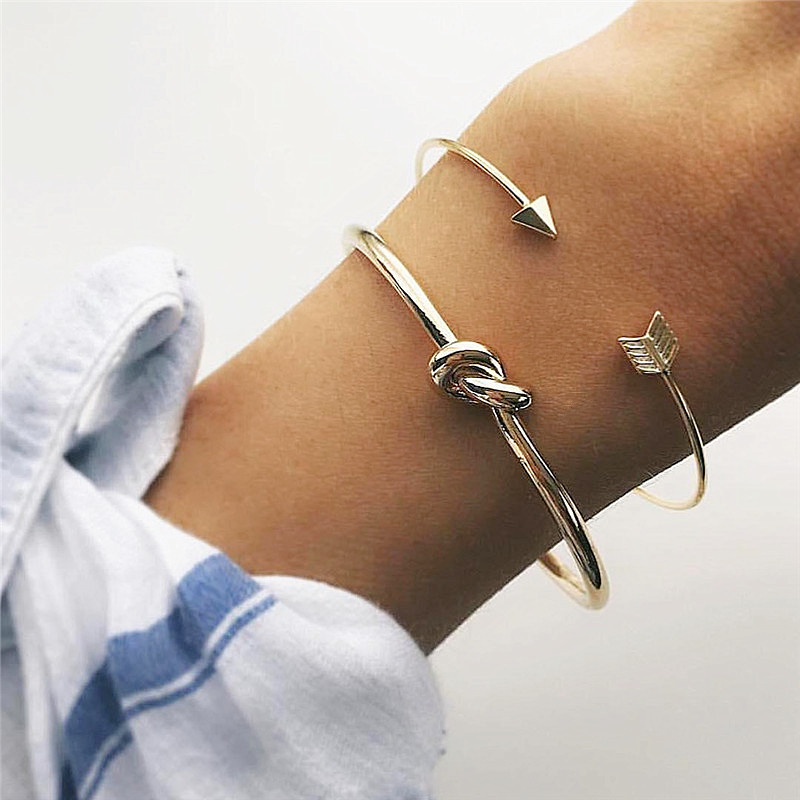Vintage Cuff Bracelet Bangles for Women Simple Gold Color Open Arrow Knotted Charm Bracelet Jewelry Gift Free Shipping 2Pcs/set