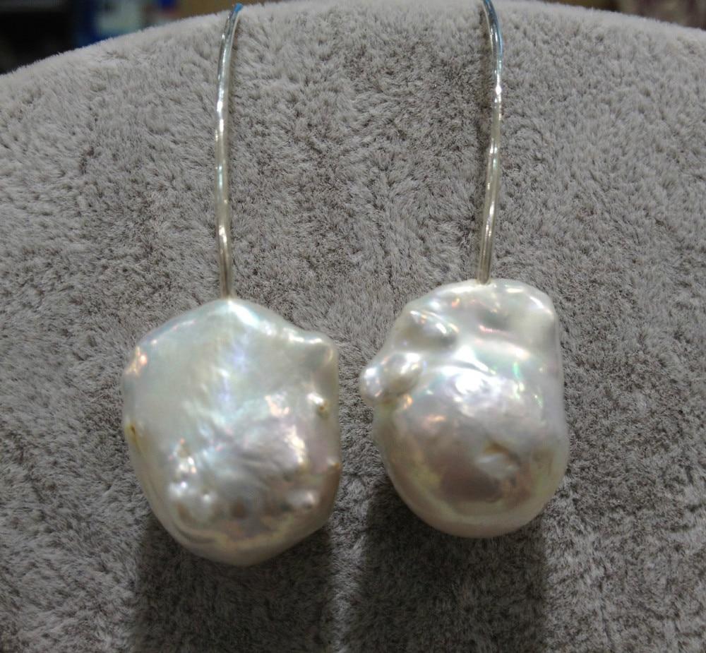 Barocka stora sötvatten pärlörhängen äkta 925 silver mode fina - Fina smycken - Foto 4
