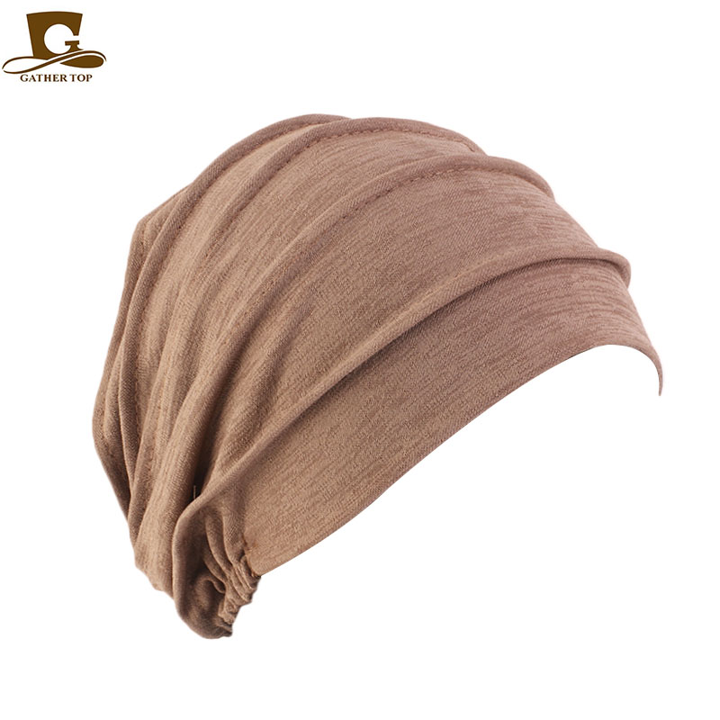 NEW Women Slouchy Snood Beanie ruffle turban baggy Hat Cancer chemo Hats for hair loss in Men 39 s Skullies amp Beanies from Apparel Accessories