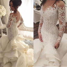 Женское кружевное свадебное платье it's yiiya белое с длинными
