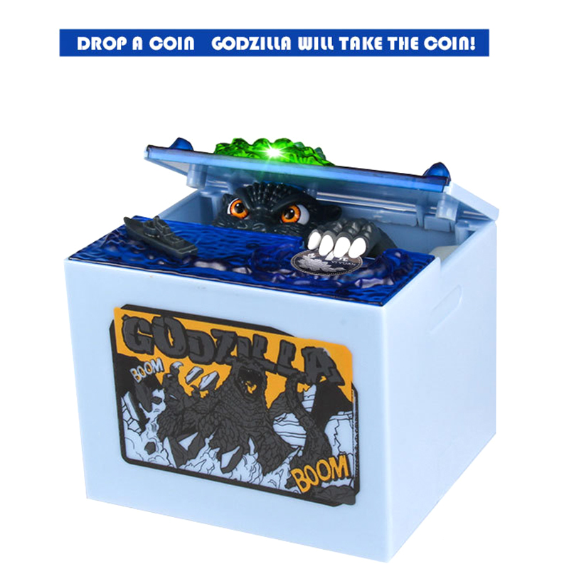 New Stealing Money Godzilla Coins Saving Box Electronic Steal Coins Saving Money Toys with Light and Sound Effect