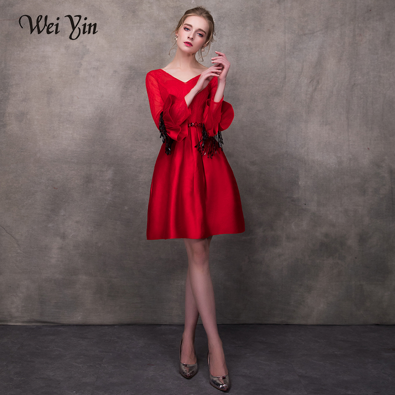 WEIYIN V Neck A-line   Cocktail     Dress   Wine Red Appliques 3/4 Length Sleeves Crystal Minin Length   Cocktail     Dress   Formal Party   Dress