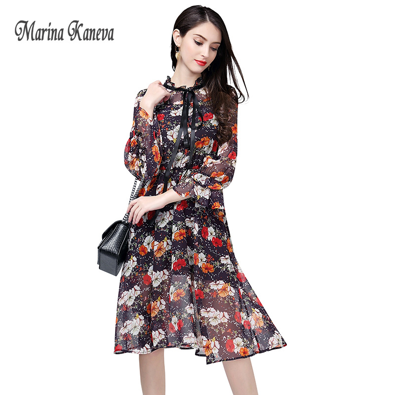 Long Sleeve Chiffon Dress Printed Midi Dress Age fashion style Multicolor Print Floral Dress Slim Women shredded dress 4XL 2018 floral chiffon dress long sleeve