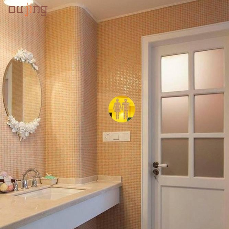 Oujing 3D Toilet Modern Acrylic Large Home Decorative Mirror Wall Stickers DIY bathroom Mirror Signage Wall Stickers 1PC