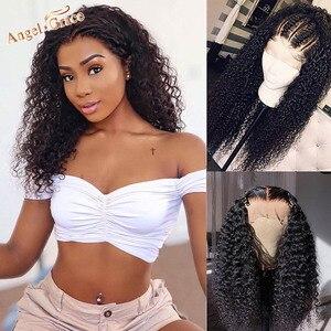Image 3 - Angel Grace 13x6 bouclés dentelle avant perruque de cheveux humains brésilien crépus bouclés perruques sans colle dentelle fermeture perruques de cheveux humains pré plumés