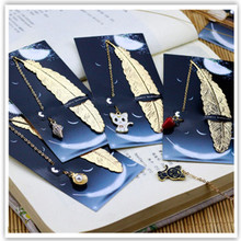 1Pcs Retro Metal Feather Book mark Creative Silver Gold Color Chinese style Gift Package School Supplies цены