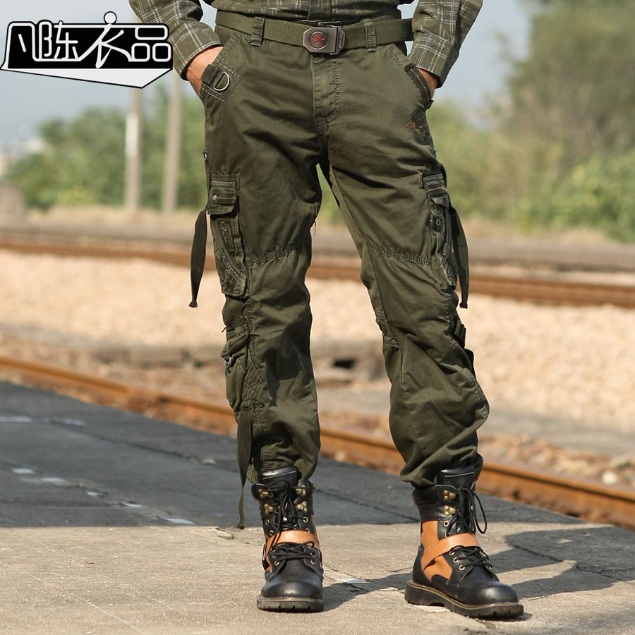 Free Shipping promotion New fashion Male Mens overalls Military uniform special combat trousers cotton casual workers