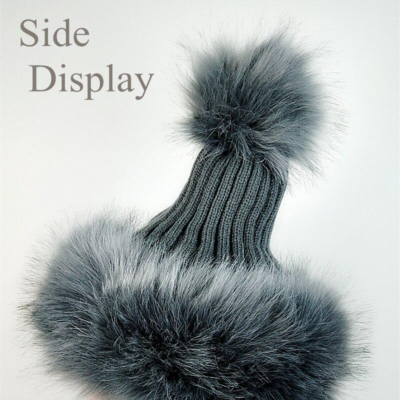 b4710ee13b76 Aliexpress.com: Comprar JXQBYSYDK nueva Natural piel Pompom sombreros de  invierno para las mujeres mantener caliente casquillo hecho Punto de moda  ...