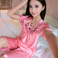 New Pink Short sleeve Silk Satin Nightgowns Women Lace Embroidery Sleepwear Knee Length Sleep Skirts Fashion Lace Dress 50064