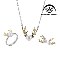 MADALENA SARARA AA Freshwater Pearl Sterling Silver 925 Pendant Necklace Set Wepiti Elk Asian Style Cute Girl's Jewelry Set