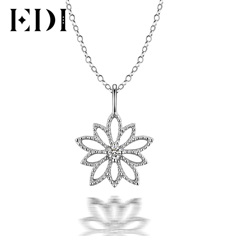 EDI Solitaire Round Natural Diamond Pendants For Women 18K White Gold Flower Star Wedding Pendant 16' Necklace Chain Jewelry 18k 750 white gold pendant gh color round lab grown moissanite double heart necklace diamond pendant necklace for women jewelry