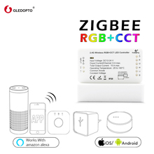 ZIGBEE controller zll link light RGB+CCT led strip controller smart app control Compatible with zigbee 3.0 and Amazon Echo plus zigbee ww cw led controller compatible smart home bridge zigbee dimmer for led strip dc 12v 24v amazon alexa echo zll controller
