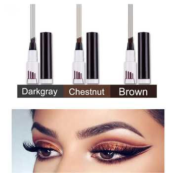 Waterproof Fork Tip Eyebrow Tattoo Pen 4 Head Fine Sketch Liquid Eyebrow Enhancer Dye Tint Pen New Eyebrow Pencil